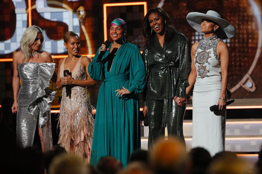 Lady Gaga, Jada Pinkett Smith, Alicia Keys, Michelle Obama et Jennifer Lopez aux Grammy Awards, le 10 février 2019.