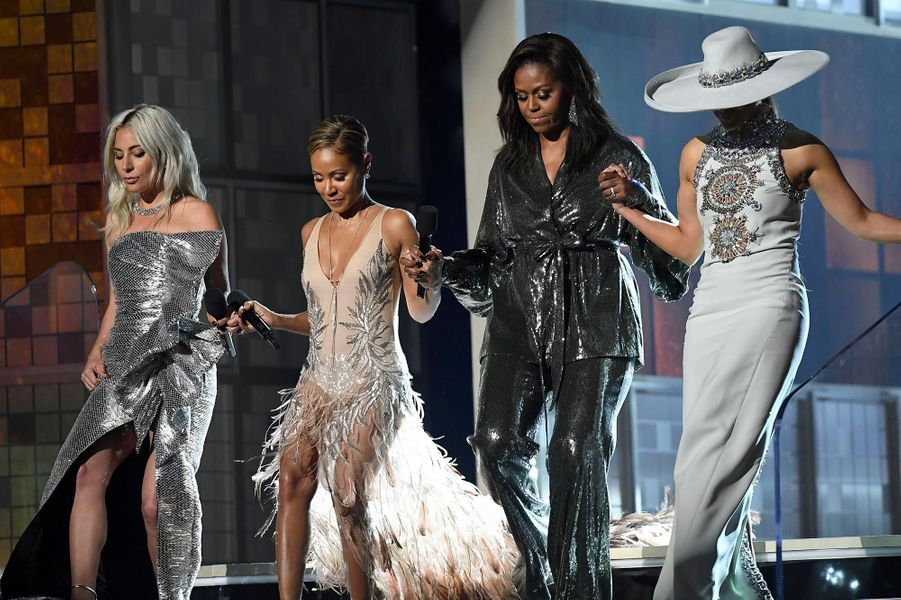Lady Gaga, Jada Pinkett Smith, Michelle Obama et Jennifer Lopez aux Grammy Awards, le 10 février 2019.