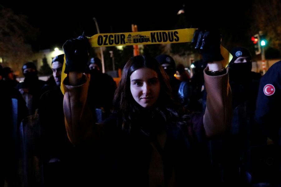 Manifestation à Ankara, en Turquie, le 6 décembre 2017.