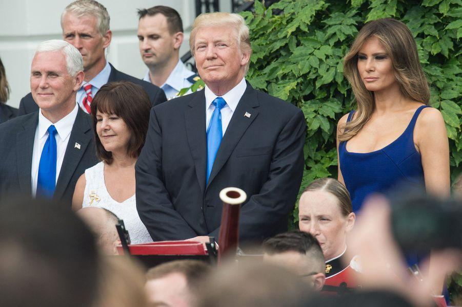 Melania et Donald Trump à la Maison Blanche, le 4 juillet 2017.