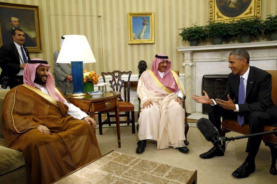 Le prince Mohammed ben Salmane, le prince Mohammed ben Nayef et Barack Obama, en mai 2015.