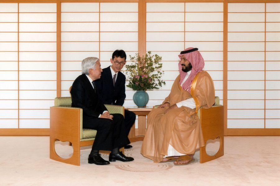L'empereur japonais Akihito etle prince Mohammed ben Salmane, en septembre 2016.