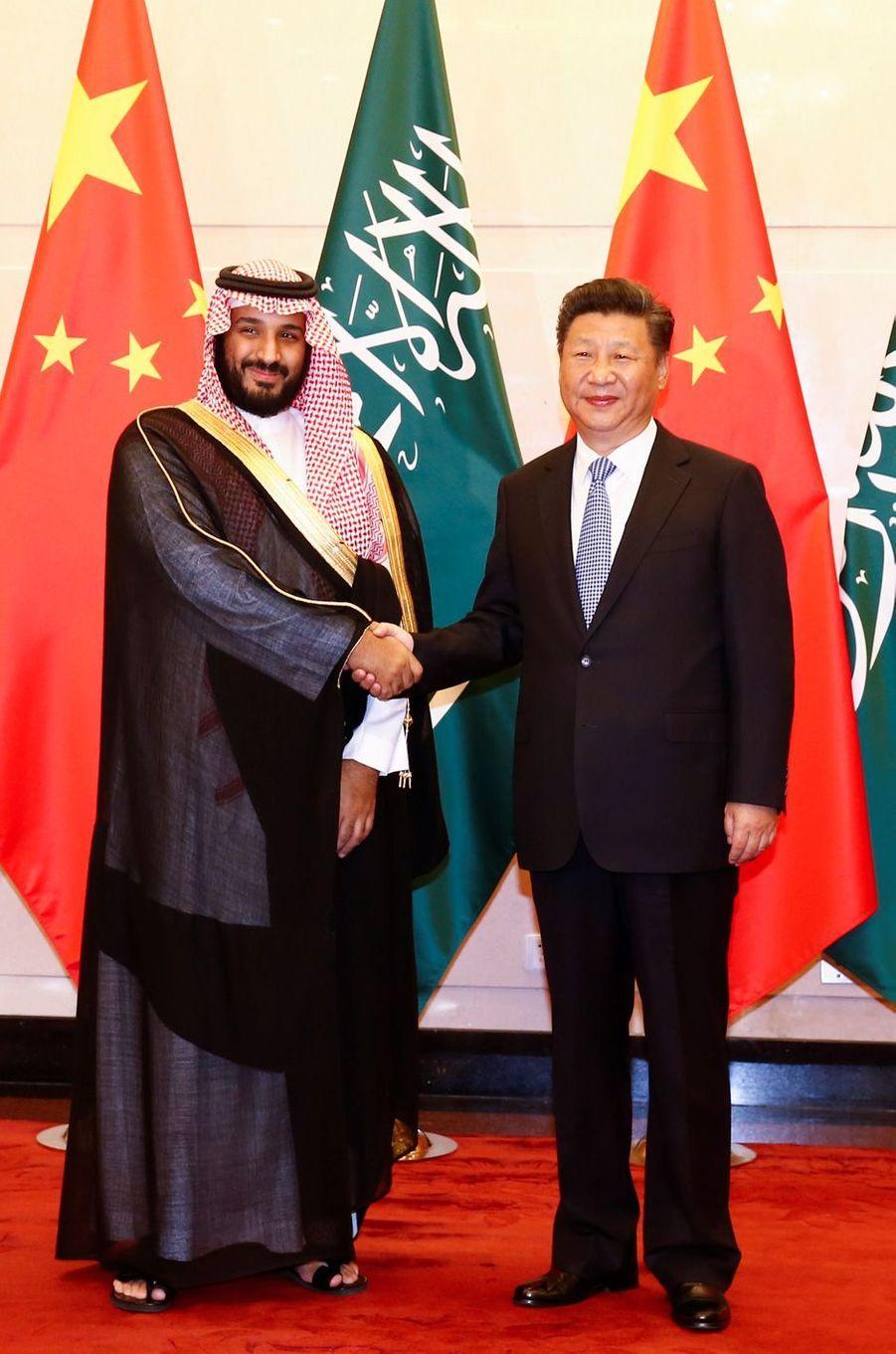 Le prince Mohammed ben Salmane et le président chinois Xi Jinping, en août 2016.