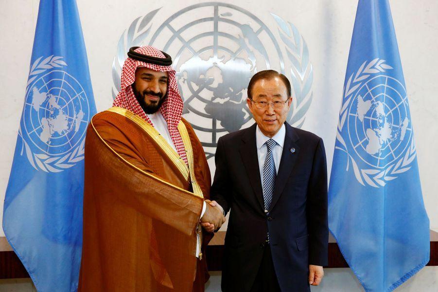 Le prince Mohammed ben Salmane et Ban Ki-Moon, en juin 2016.