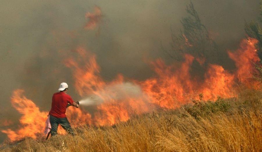 Un volontaire tente tant bien que mal de venir à bout des flammes, à Dioni, au nord-est d'Athènes.