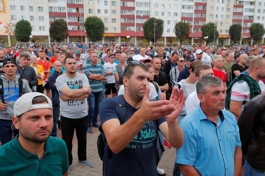 Manifestation àSalihorsk, au Bélarus, le 19 août 2020.