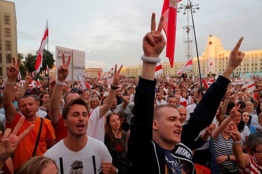 Manifestation àMinsk, au Bélarus, le 18 août 2020.