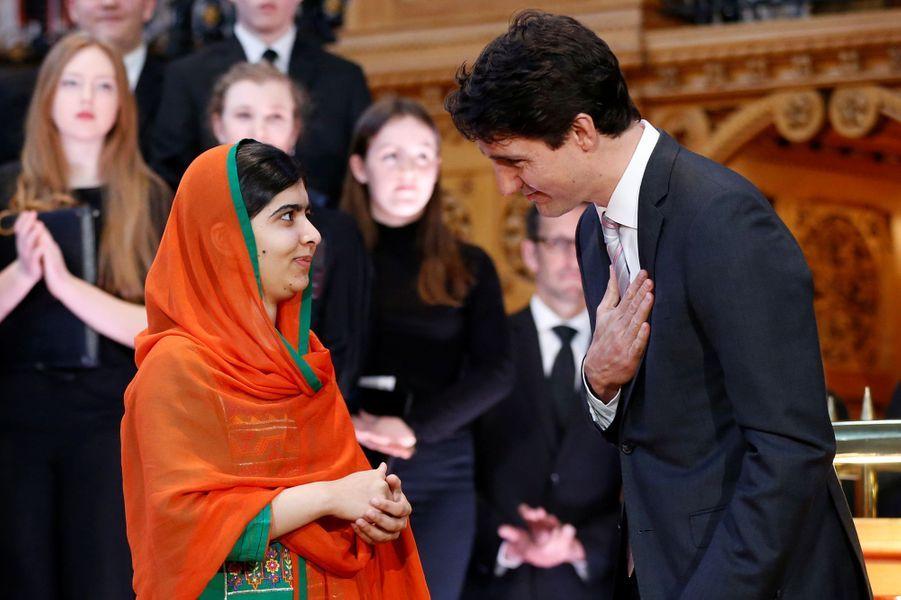 Malala Yousafzai et Justin Trudeau à Ottawa, le 12 avril 2017.