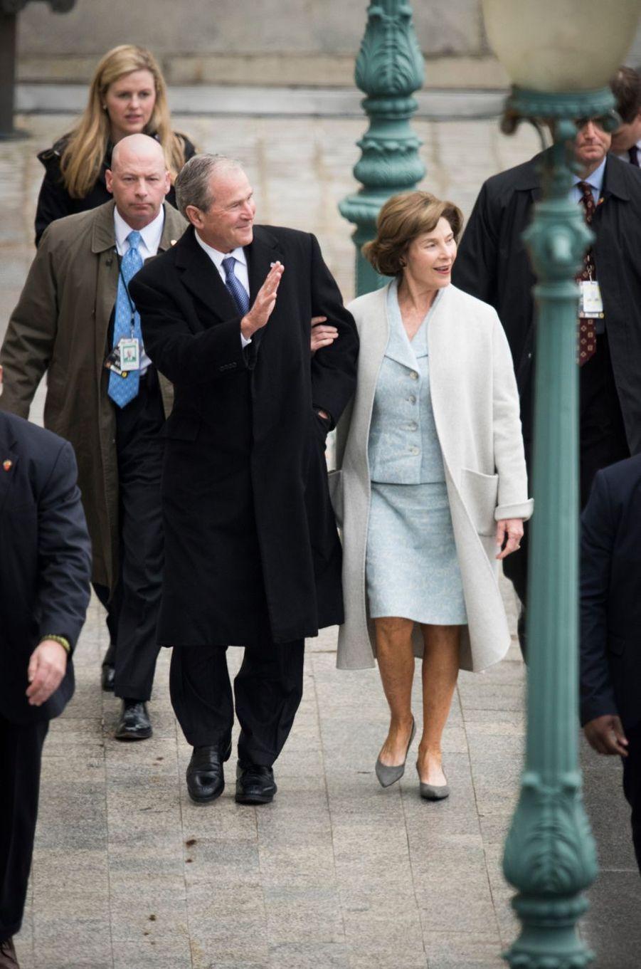 George W. Bush et Laura Bushà l'investiture de Donald Trump, le 20 janvier 2017.