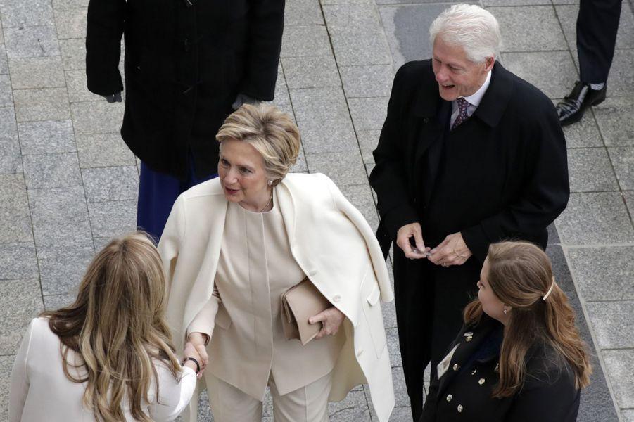 Hillary et Bill Clintonà l'investiture de Donald Trump, le 20 janvier 2017.