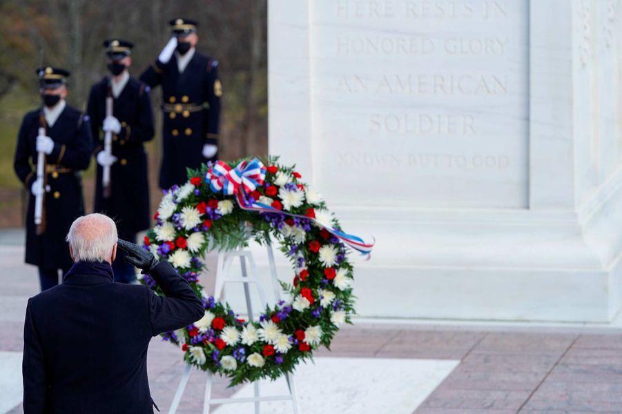 Joe Biden au cimetière national d'Arlington, le 20 janvier 2021.