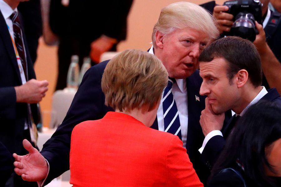 Emmanuel Macron, Angela Merkel et Donald Trump vendredi au G20 à Hambourg.