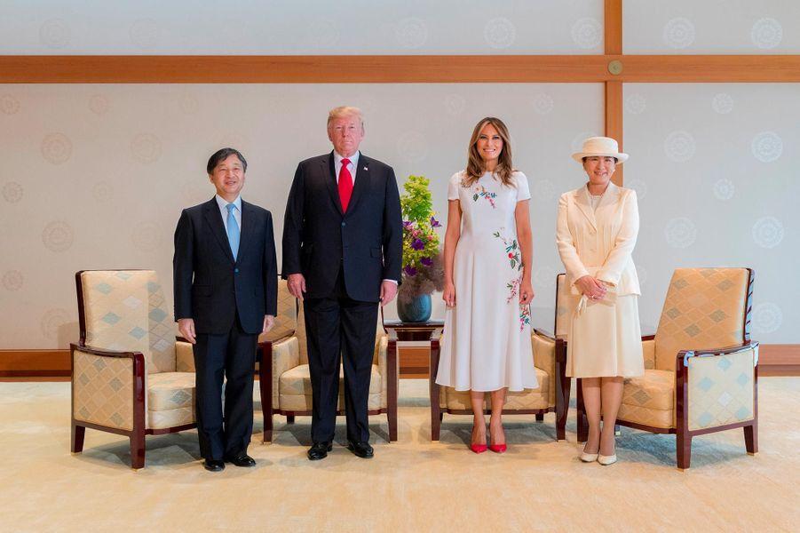 Donald et Melania Trump avec l'empereur Naruhito et de l'impératrice Masako, le 27 mai 2019.
