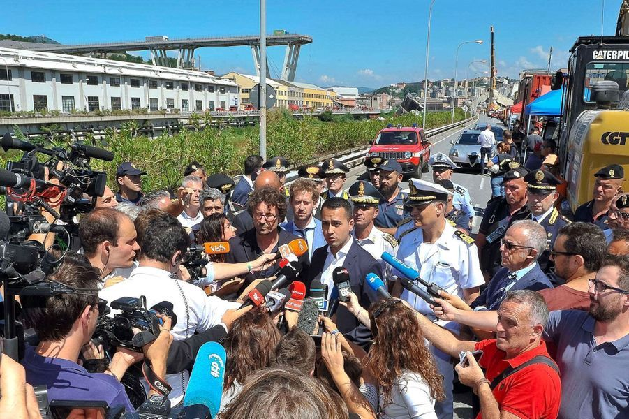 Luigi Di Maio, le vice-Premier ministre, s'exprime à Gênes mercredi.