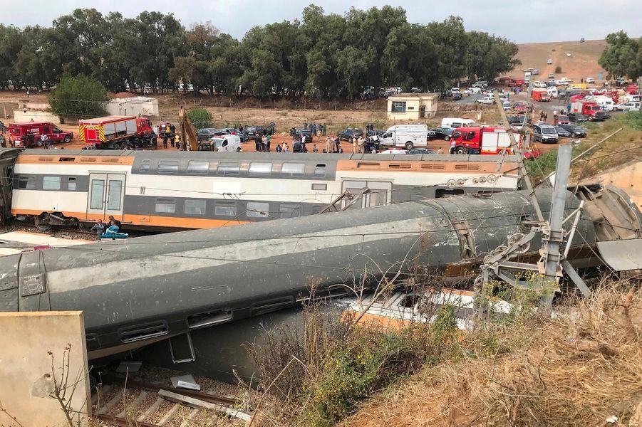 Le déraillement d'un train a fait six morts près de Rabat, au Maroc, le 16 octobre 2018.