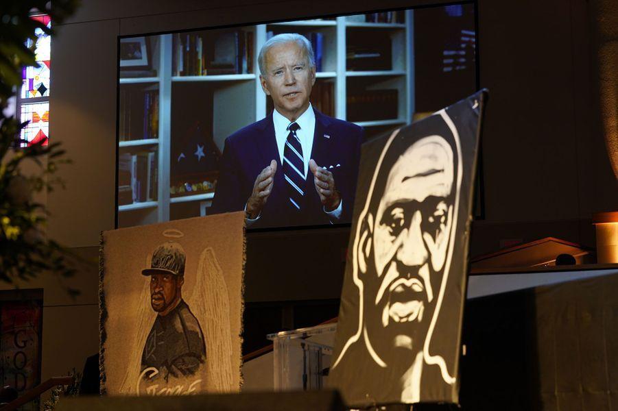 Le candidat démocrate Joe Biden dans une vidéo diffusée pendant les obsèques de George Floyd, mardi.