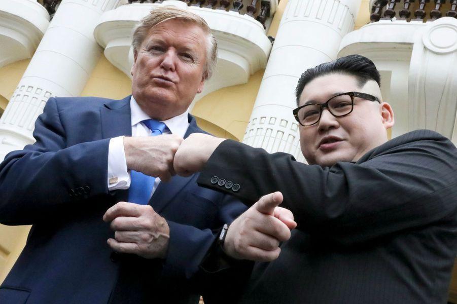 Les sosies de Donald Trump et de Kim Jong-un à Hanoï, au Vietnam, le 22 février 2019.