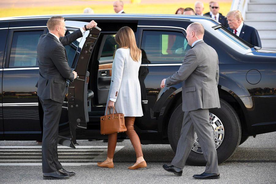 Melania Trump arrivant en Finlande, le 15 juillet 2018.