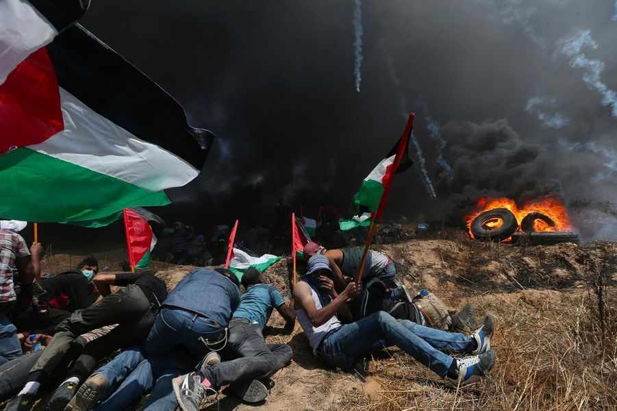 Lors de la manifestation dans la bande de Gaza, le 14 mai 2018.