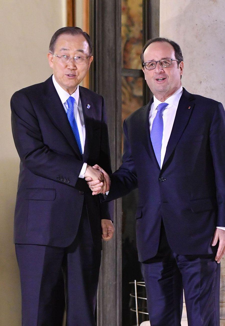 Ban Ki-moon et François Hollande jeudi à l'Elysée