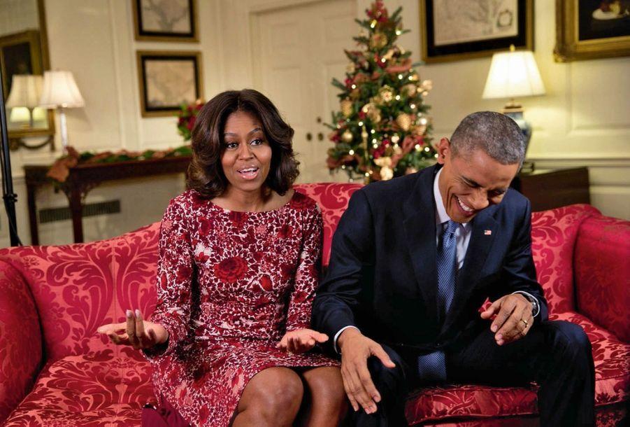 Fou rire dans la Map Room de la Maison-Blanche, en novembre 2014.