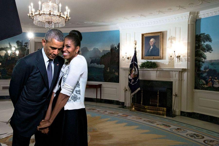 Barack et Michelle Obama le 27 mars 2015 dans la salle de réception de la Maison Blanche.