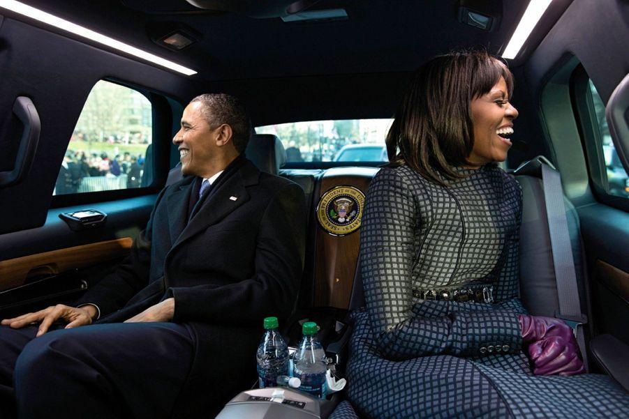 Dans la Cadillac One, surnommée « The Beast », à Washington, lors de la seconde intronisation d'Obama, en janvier 2013.