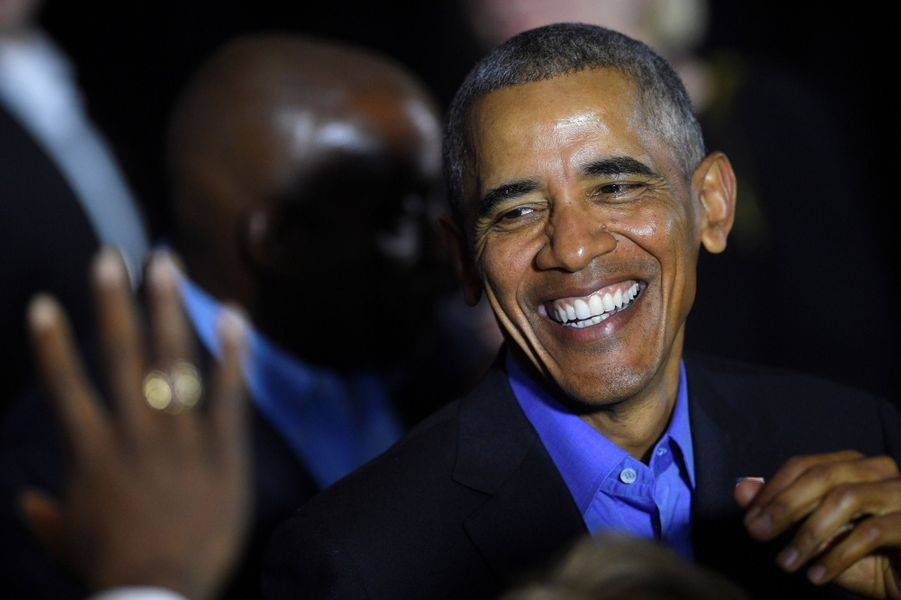 Barack Obama à Newark, dans le New Jersey, le 19 octobre 2017.