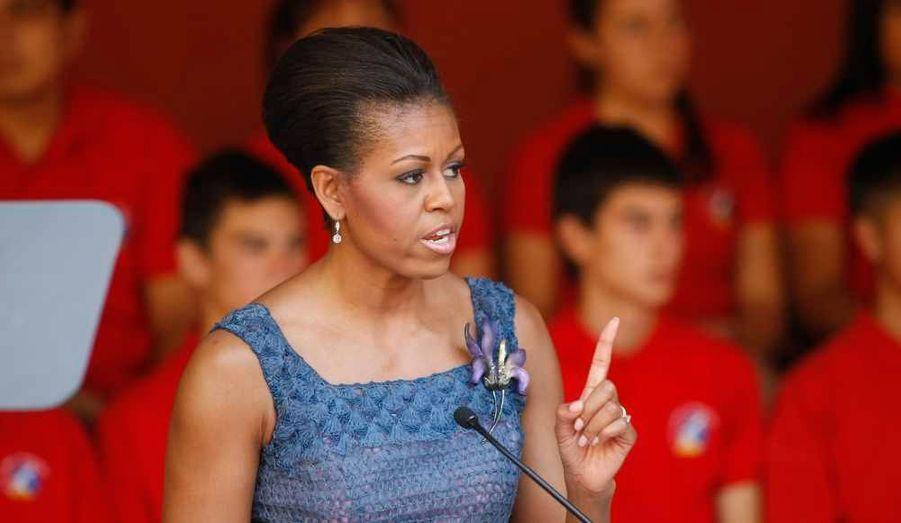 Michelle Obama a elle aussi parlé aux élèves du Lycée Bicentario Instituto Cumbre de Condores de Santiago