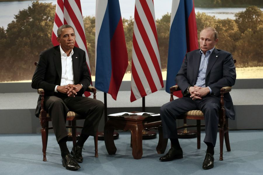 Barack Obama et Vladimir Poutineau G8 àEnniskillen (Irlande du Nord), le 18 juin 2013.