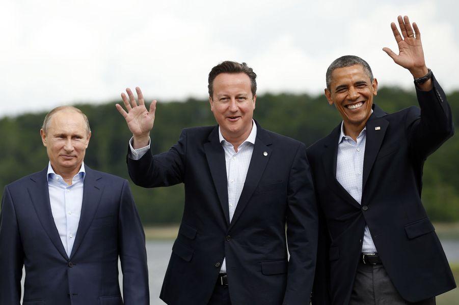 Vladimir Poutine, David Cameron et Barack Obama au G8 àEnniskillen (Irlande du Nord), le 18 juin 2013.