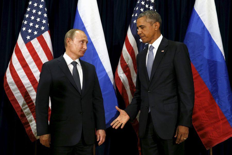 Barack Obama et Vladimir Poutinelors de l'Assemblée générale des Nations Unies à New York, le 28 septembre 2015.