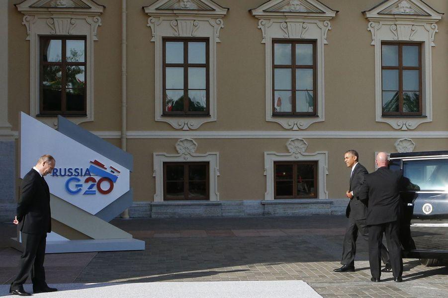 Vladimir Poutine et Barack Obama avant le G20 aupalais Constantin, près de Saint-Pétersbourg, le 5 septembre 2013.