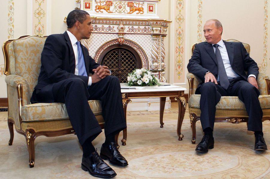 Barack Obama et Vladimir Poutine àNovo-Ogariovo, la résidence personnelle du président russe près de Moscou, le 7 juillet 2009.