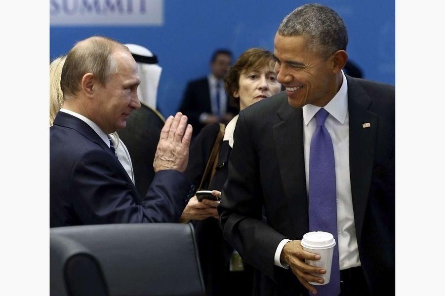 Vladimir Poutine et Barack Obama au G20à Antalya (Turquie), le 16 novembre 2015.
