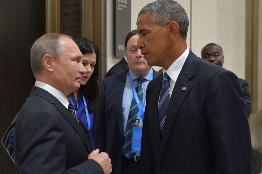 Vladimir Poutine et Barack Obama au G20 àHangzhou (Chine), le 5 septembre 2016.