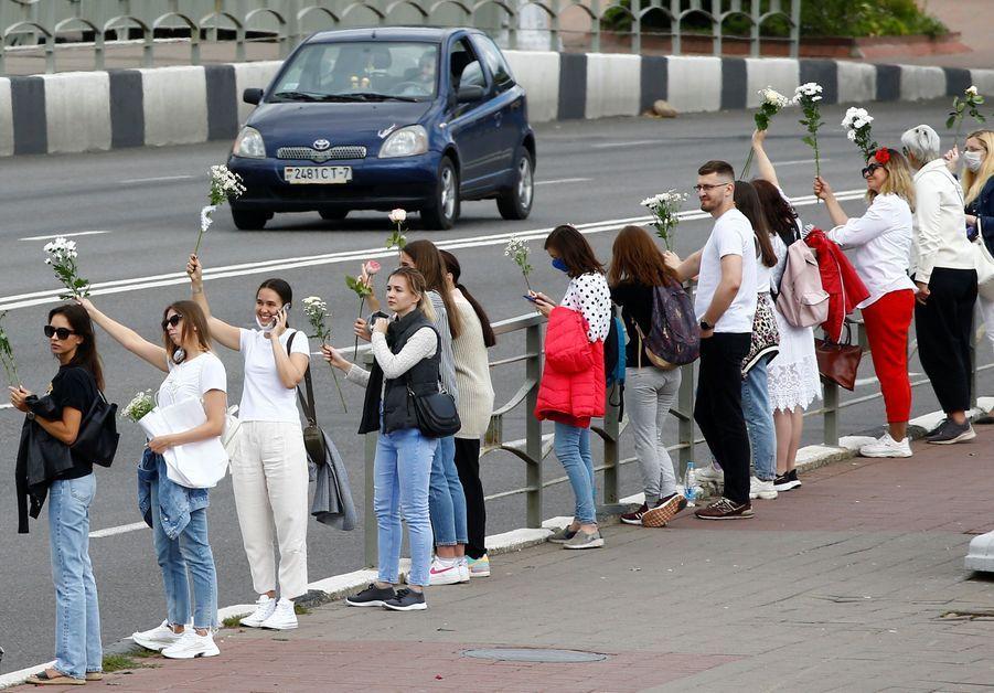 Une chaîne humaine à Minsk.