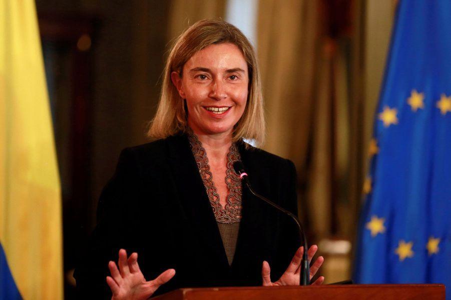 Federica Mogherini, femme politique italienne, membre du Parti démocrate, ministre des Affaires étrangères du gouvernement Renzi avec délégatio...