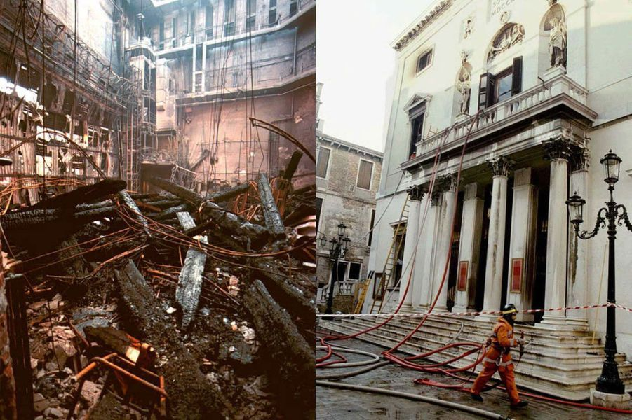 La Fenice de Venise, détruite par un incendie criminel, en janvier 1996.