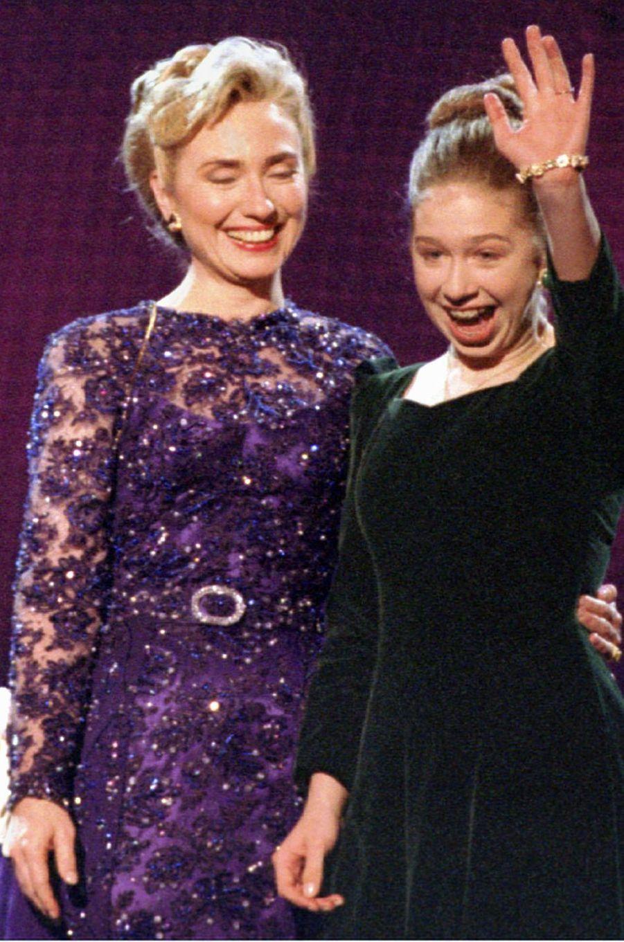 Hillary etChelsea Clinton, en janvier 1993.