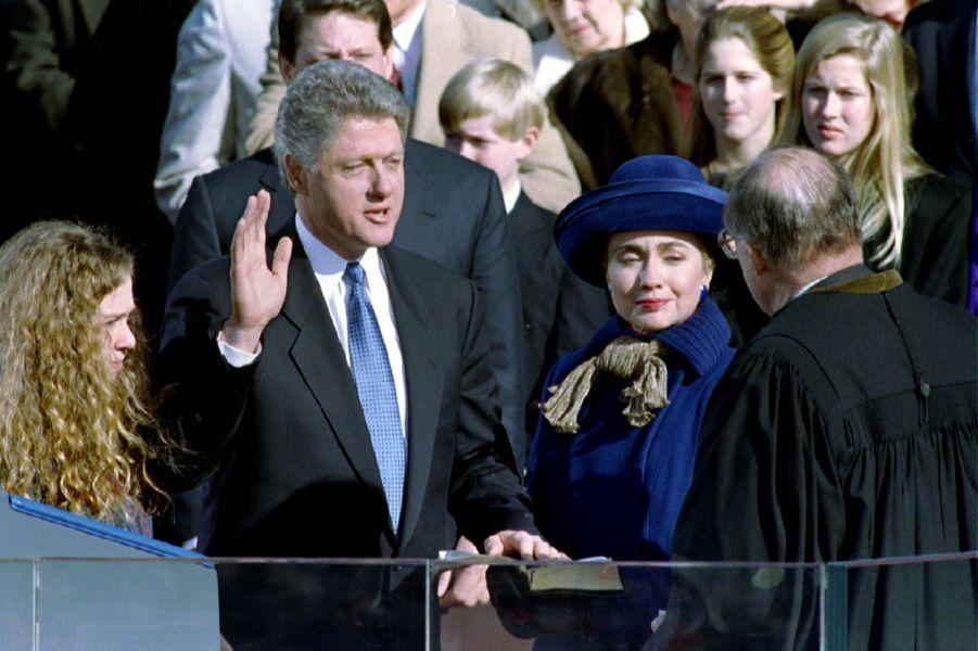 Bill, Hillary etChelsea Clinton, en janvier 1993.