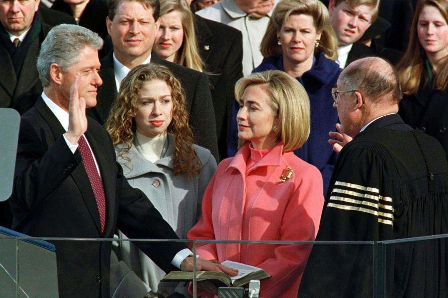 Bill, Hillary etChelsea Clinton, en janvier 1997.