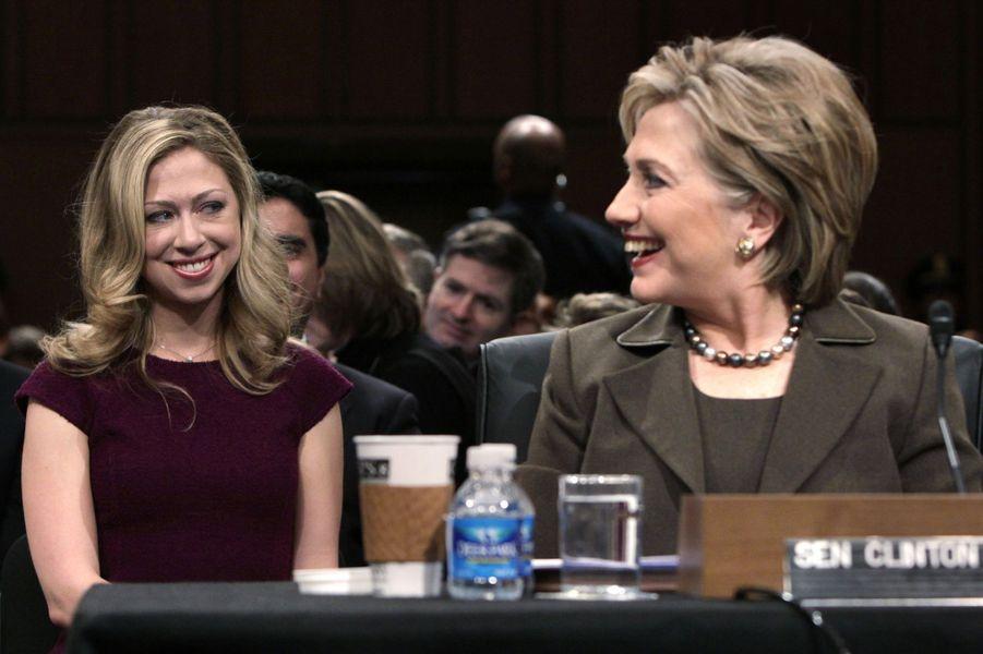 Hillary etChelsea Clinton, en janvier 2009.