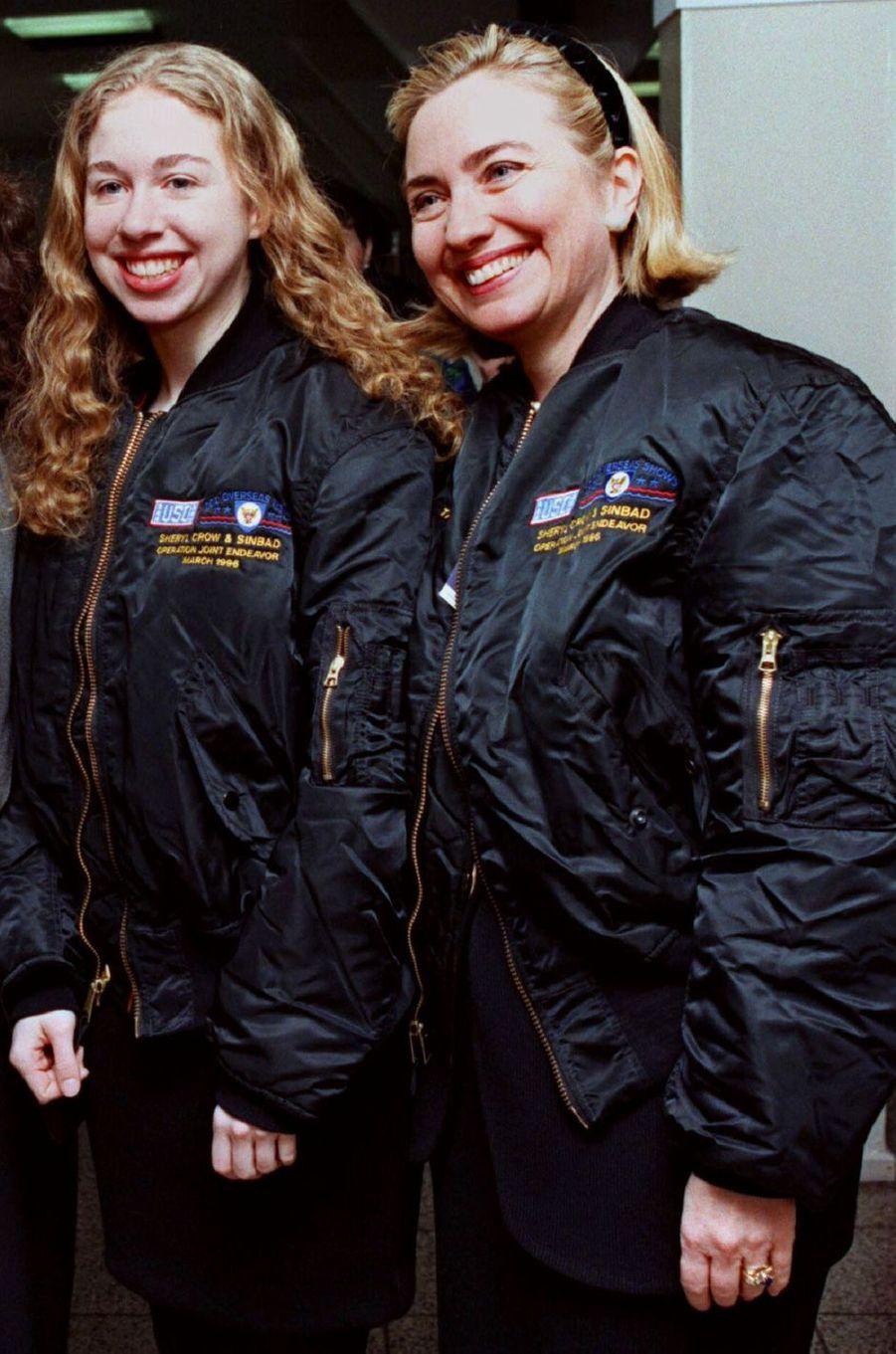 Hillary etChelsea Clinton, en mars 1996.