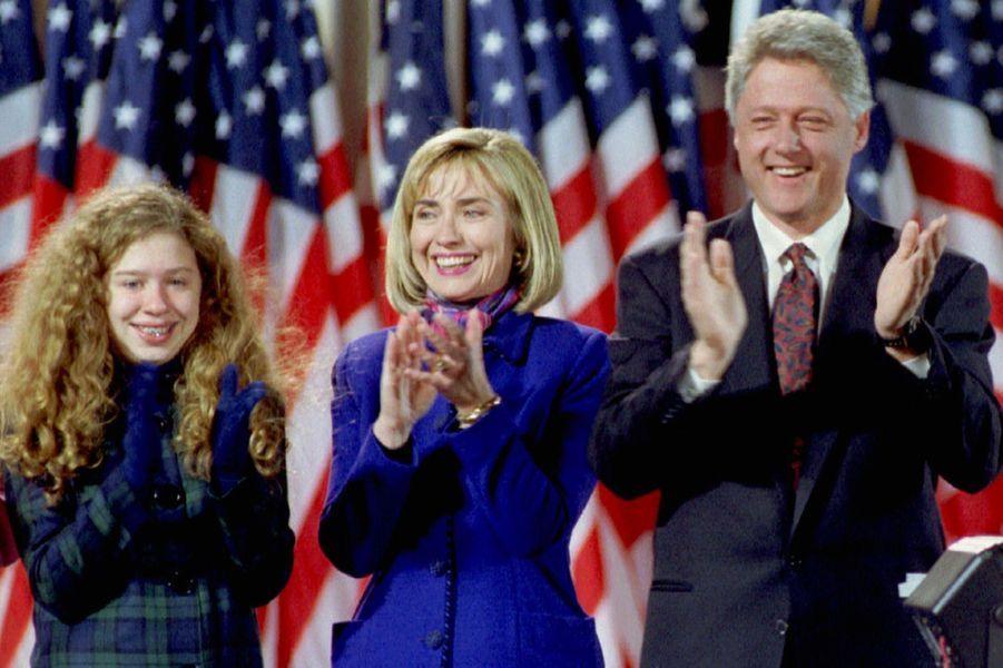 Hillary, Bill etChelsea Clinton, en novembre 1992.