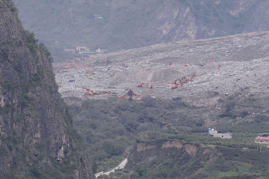 Le glissement de terrain à Xinmo, en Chine.