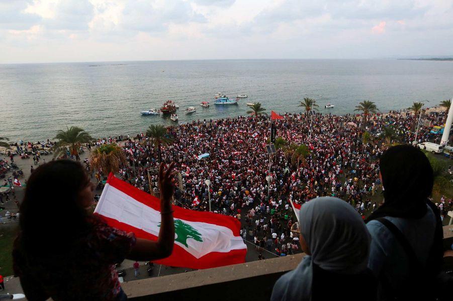 Manifestation à Tyr, au Liban, le 20 octobre 2019.