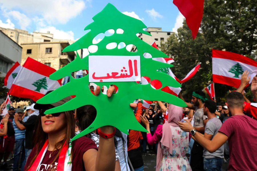 Manifestation à Nabatieh, au Liban, le 20 octobre 2019.