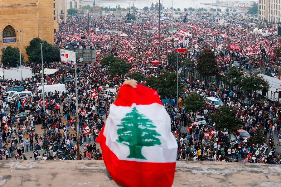 Manifestation à Beyrouth, au Liban, le 20 octobre 2019.