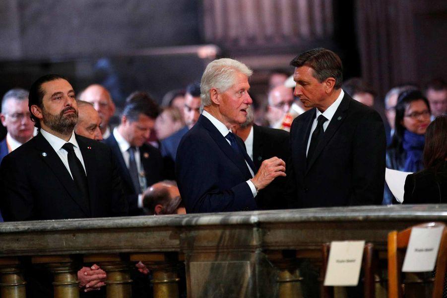 Saad Hariri et Bill Clinton à l'église Saint-Sulpice pour l'hommage à Jacques Chirac, le 30 septembre 2019.